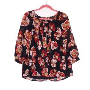 Madewell Floral 3/4 Sleeve Button Cuff Blouse XS